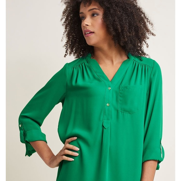 c86bc453f Modcloth Pam Breeze-ly Long Sleeve Tunic in green.  M_5b4a999cf63eea478f8d0105